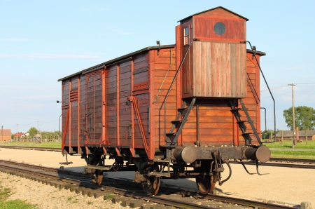 Deportation wagon at Auschwitz Birkenau at Auschwitz Birkenau concentration camp, Poland
