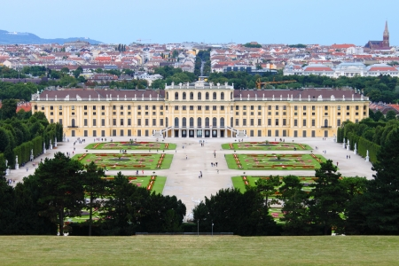 Vienna, Austria - July 21, 2011: Landscape view of Schonbrunn Palace Editorial