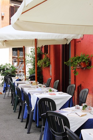 Rome, Italy - June 12, 2010: Typical restaurant in the downtown of Rome Editorial