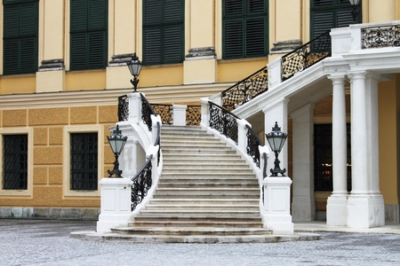 entranceway: Vienna, Austria - July 21, 2011: Staircase of Schonbrunn castle