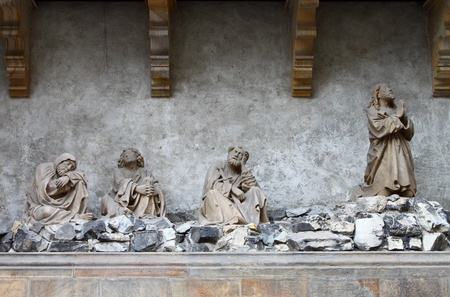 statuary garden: Jesus praying in the garden of Gethsemane Editorial