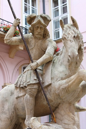 primate: Statue of Saint George riding his horse in Primate palace of Bratislava, Slovakia Editorial