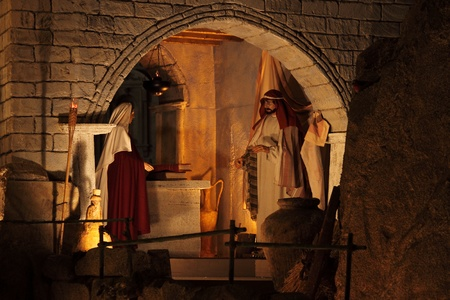 VATICAN - DECEMBER 25: A lateral scene of the christmas crib on December 25, 2011 in Vatican City