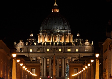 st peter: Night view of Saint Peter Basilica in Christmas time. Vatican City, Italy Stock Photo