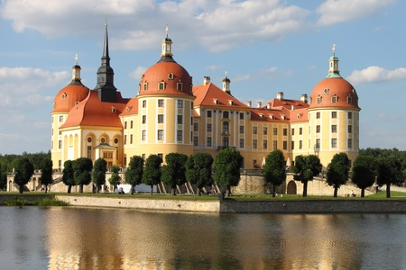 Landscape view of Moritzburg Castle in Saxony, Germany