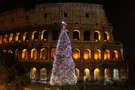 Colosseum by night in Christmas time. Rome, Italy