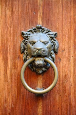 Bronze lion head knocker on a wooden door Stock Photo - 11819284