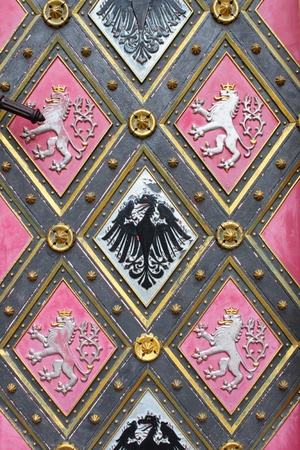 Detailed view of a wooden door with emblems
