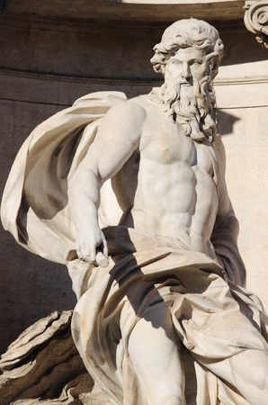 Statue of Neptune in the Trevi Fountain. Rome, Italy