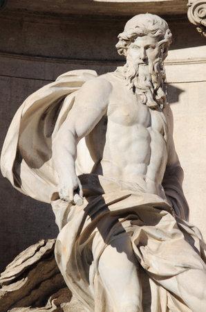 bernini: Statue of Neptune in the Trevi Fountain. Rome, Italy Editorial