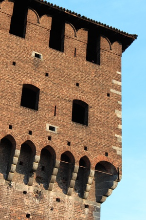Battlements of Sforzesco castle in Milan, Italy Stock Photo - 11940977