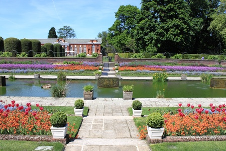 typically english: The beautiful gardens of Kensington palace in London, UK