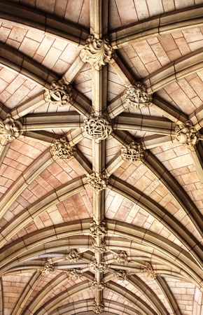 Detailed view of the arched ceiling of St Margaret church in London, UK