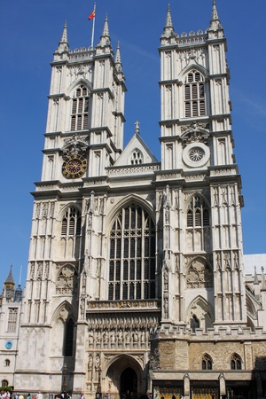 Facade of Westminster Abbey in London, UK