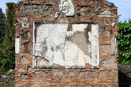 Ancient latin inscription in the Appian way of Rome, Italy Stock Photo - 11971064