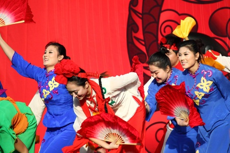 ROME - JANUARY, 14: Chinese dancers perform at Popolo Square during the Chinese New Year celebrations on January 14, 2012 in Rome, Italy.
