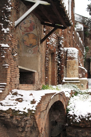 frescoed: ROME - FEB 4: Ara Coeli house after the heavy snowfall on February 4, 2012 in Rome. The last snowfall in Rome was in 1985