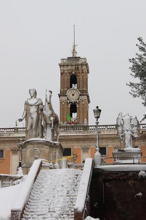 cordoned: ROME - FEB 4: Pollux statue in Campidoglio square after the heavy snowfall on February 4, 2012 in Rome. The last snowfall in Rome was in 1985