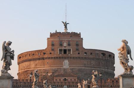 Saint Angel castle from the bridge. Rome, Italy