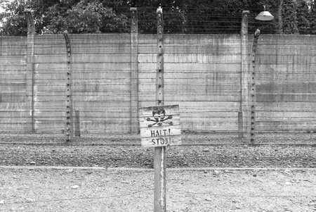 Warning sign at Auschwitz concentration camp, Poland photo