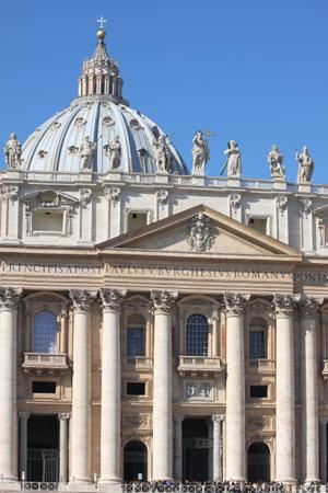 the council: Facade of Saint Peter Basilica in Vatican. Italy