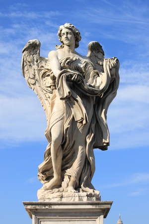 angel statue: Angel statue in Saint Angel bridge  Rome, Italy Stock Photo