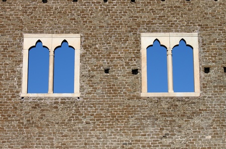 Double lancet windows in a medieval castle Stock Photo - 12943042