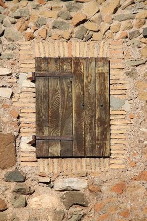 Ancient wood door of a castle photo