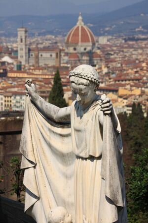 Angel statue with Florence in background photo