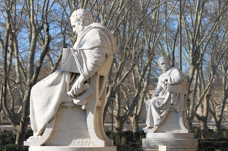 Statues of intellectuals in front of the Palace of Justice in Rome, Italy photo