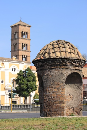 sentry: Sentry box in Metronia gate of Rome, Italy