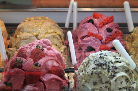 Different flavors in a ice cream parlor 스톡 콘텐츠