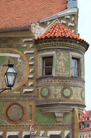 frescoed: Medieval balcony in Telc, Czech Republic