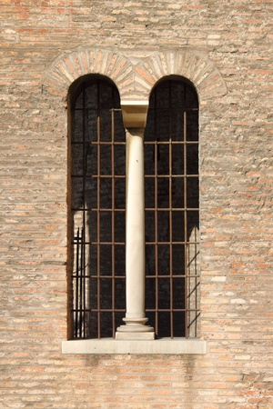 A double lancet window in a medieval castle Stock Photo - 13120205