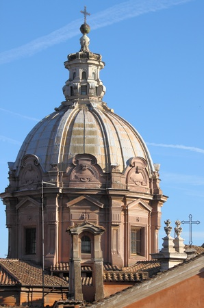 Urban scenic of Rome with dome and church photo
