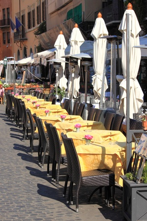 dining out: Typical restaurant in the downtown of Rome, Italy Editorial