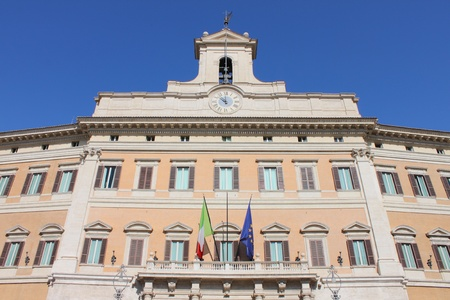 Montecitorio palace, houses of the italian Parliament. Rome, Italy