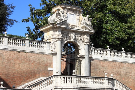 Entrance portal of a renaissance palace in Rome, Italy