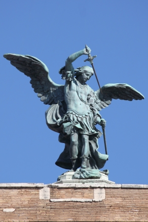 Saint Michael Archangel statue on the top of Saint Angel castle in Rome, Italy