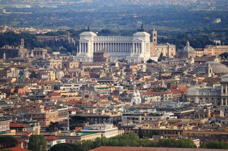 Panoramic view of Rome with National monument of Victor Emmanuel II
