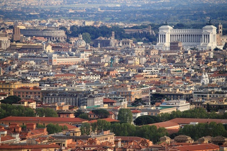 Panorama of Rome with Colosseum and National monument of Victor Emmanuel II photo