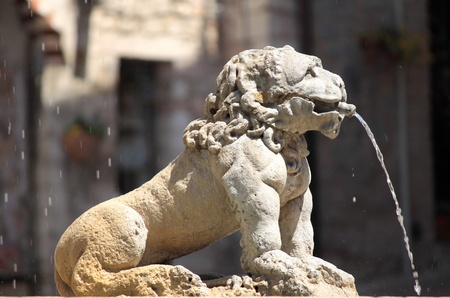Lion fountain in the main town square of Assisi, Italy Archivio Fotografico