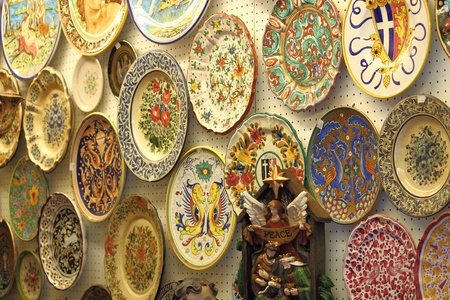 Porcelain plates for sale in a pottery shop Stock Photo - 13529743