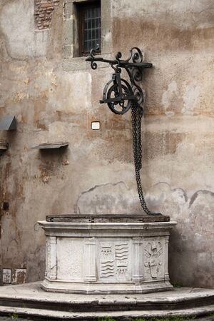 Medieval water well in Saint Angel Castle  Rome, Italy Editorial