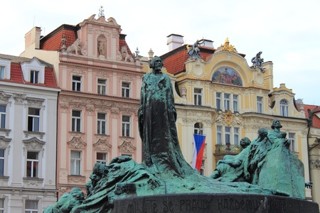 frescoed: Jan Hus Monument in Prague, Czech Republic Editorial
