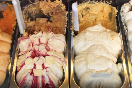 Different flavors in a ice cream parlor photo