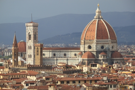 duomo: Panoramic view of Florence with Florence cathedral and Giotto Belfry