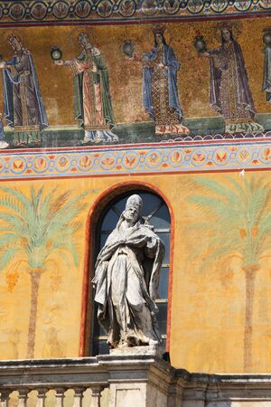 Facade of Saint Mary in Trastevere church. Rome, Italy photo