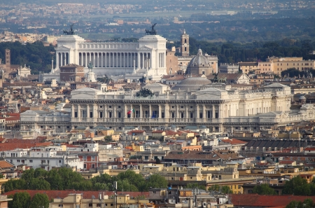 Panoramic view of Rome downtown