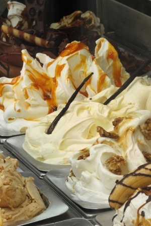 Different flavors in a ice cream parlor Stok Fotoğraf